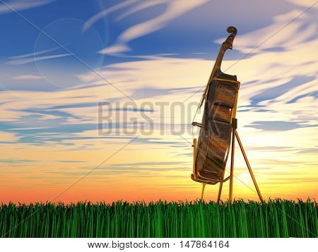 Cello on grass at sunrise or sunset 3D Render