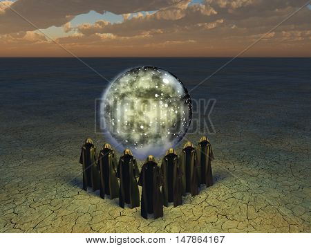 Hooded caped figures sphere of the stars shrouded in mist 3D Render  Some elements provided courtesy of NASA