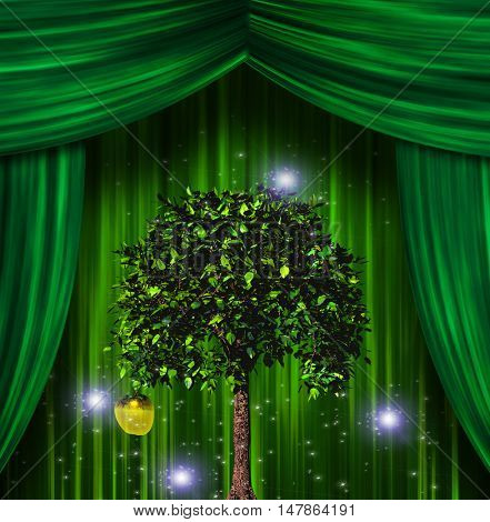 Tree and apple before curtains 3D Render