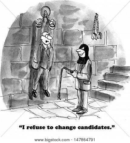 Political cartoon showing a henchman trying to convince the man hanging from chains to change his vote.