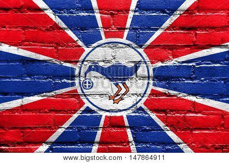 Flag Of Melekeok State, Palau, Painted On Brick Wall