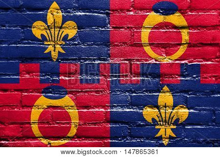 Flag Of Montgomery County, Maryland, Usa, Painted On Brick Wall