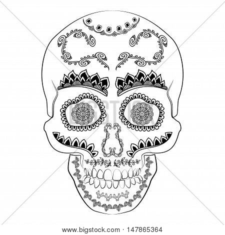 Day of the dead sugar skull vector. Mexican skull. Day of the dead skull. Dia de los muertos skull illustration. EPS10 vector illustration