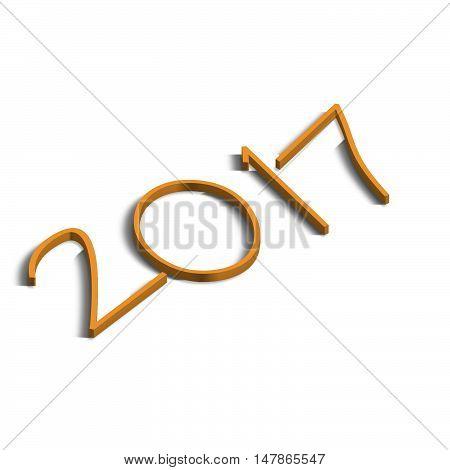 Logo anno 2017 in prospettiva isometrica 3d arancione