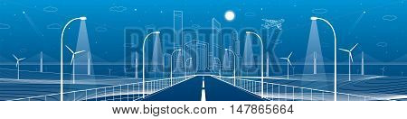 Infrastructure panorama. Highway. Road lighting lanterns. Business center, architecture and urban illustration, neon city, white lines composition, skyscrapers and towers, vector design art