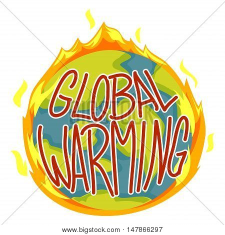 Vector Illustration of Global Warming Concept Earth on Fire