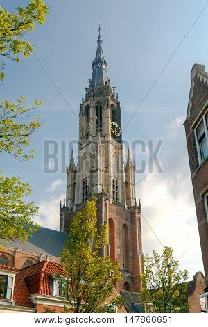 Delft. Old church with a bell tower.