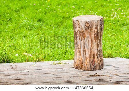 Log Stands On Rural Wooden Flooring