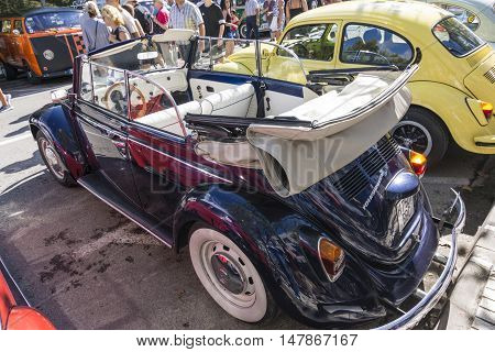 Tossa de Mar, Spain. September 17, 2016: Vintage Volkswagen beetlein the 23rd Volkswagen classics meeting in Tossa de Mar. This is a meeting point for many fans of the classic air-cooled Volkswagen.