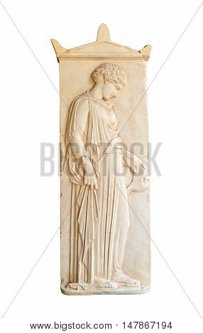 ancient greek grave stele with a girl holding a dove