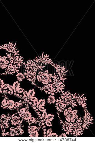 Ilustración con adorno de flor rosa cuadrante