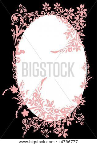 illustration with floral frame decoration on black background