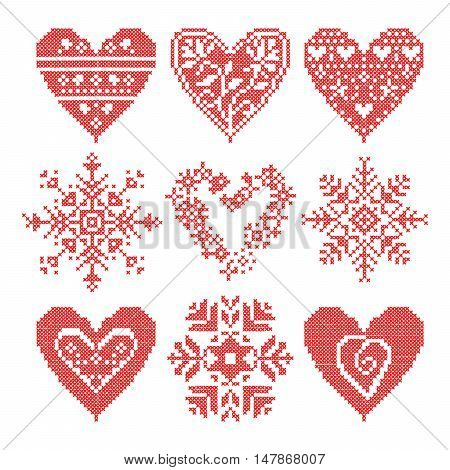 Knitted pattern knitting patchwork knitting pattern patchwork knitting scheme knitted squares. Set patchwork knitted with a New Year snowflake motif. Christmas background.