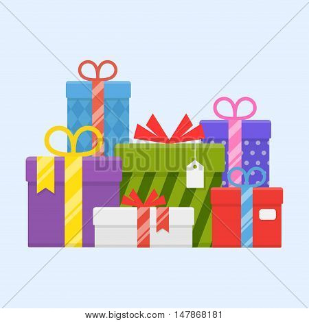 A pile of gifts with ribbons and bows vector illustration. Heap wrapped gifts in colorful packaging in flat style. Many beautiful presents.