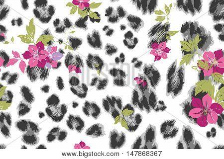 Cute Flower Seamless Mix Leopard Vector Pattern