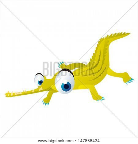 vector funny animal cute character illustration. Garial crocodile