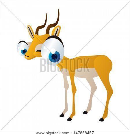 vector funny animal cute character illustration. Impala