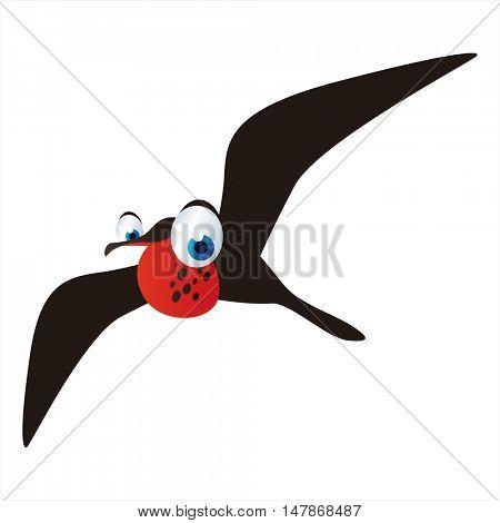 vector funny animal cute character illustration. FrIgate bird