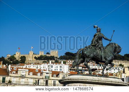 Castelo De Sao Jorge (saint George Castle) Overlooking Baixa Quarter In Lisbon..