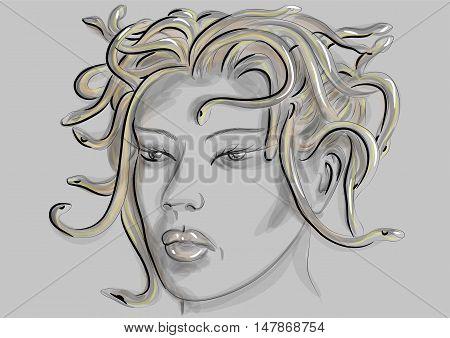 medusa gorgon portrait on a grey background