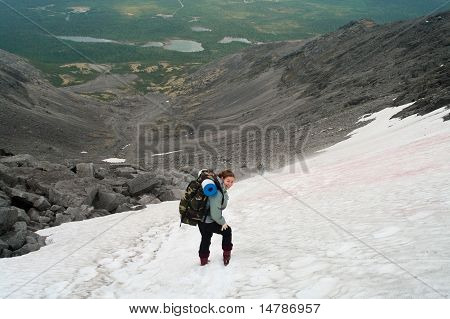 Backpacker A Young Woman Standing On Snow In Mountains