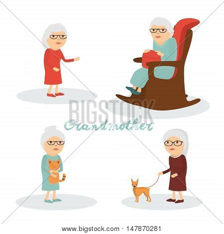 A set of characters grandmother with a cat a dog .