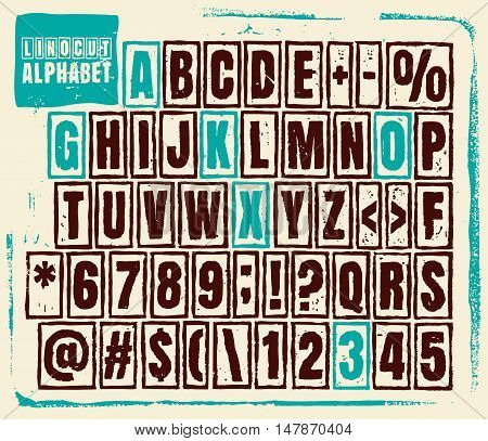 Engraved alphabet set illustration. Vector illustration of linocut alphabet.