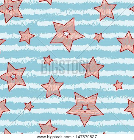 Stars and stripes seamless texture for wraping paper backgrounds and textile candy and sea colors.