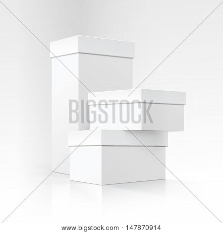 Vector Set of Blank White Carton boxes of different sizes and shapes in Perspective for package design Close up Isolated on White Background