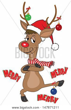 Illustration of funny reindeer with a big red nose, dancing, wearing a red Christmas hat and scarf with Christmas decorations hanging from his antlers and foot.