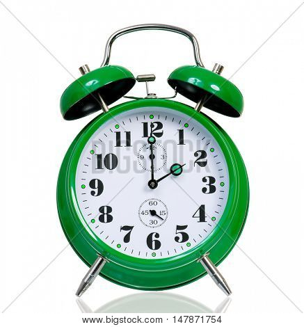 Retro alarm clock isolated on white background. Green alarm-clock old style with clipping path.