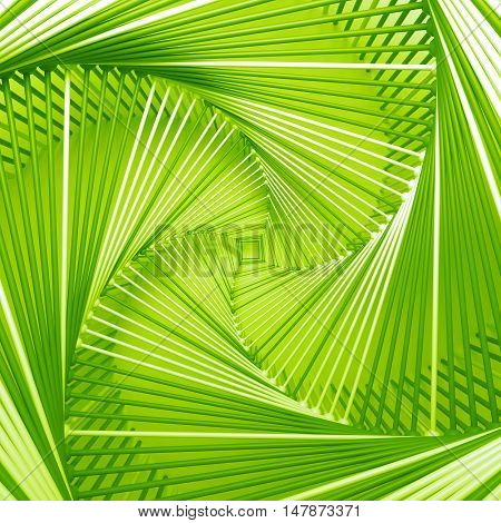3D Rendering Abstract Background With Repeat Of Wireframe Geometry Structures Around Center Of Scree