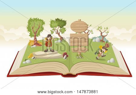 Open book with cartoon kids in explorer outfit on a green park