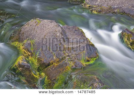 fast stream and big stone in water