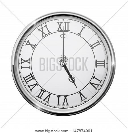 Clock dial with roman numerals. Five o'clock. Vector illustration isolated on white background