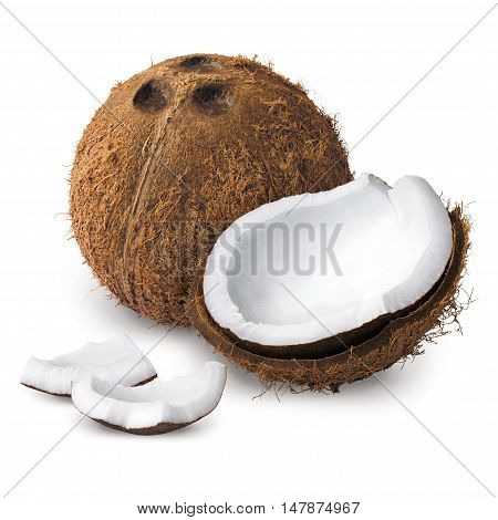 peeled covered coconut on a white background