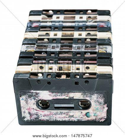 Old Cassette tapes isolated on white background