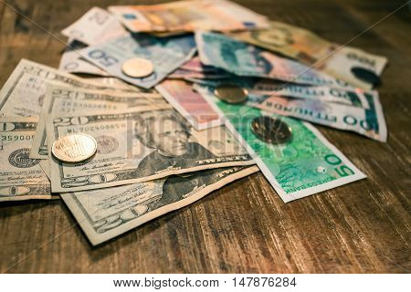 Variable Banknotes On Wooden Table, Currency Exchange