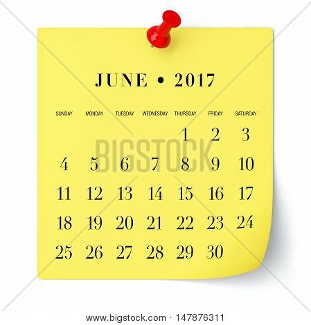 June 2017 - Calendar