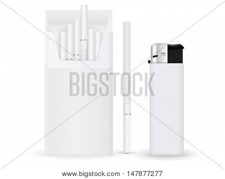 Pack of cigarettes with lighter. Vector illustration isolated on white background