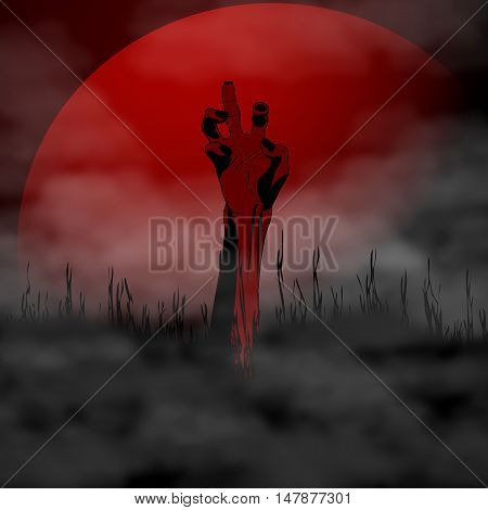 Halloween Zombie Hand on background full blood moon and fog. Vector illustration