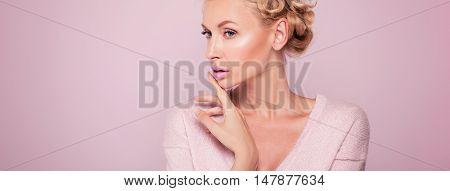 Beauty Portrait Of Blonde Woman.