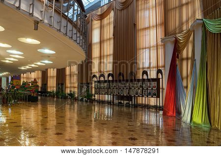 VELIKY NOVGOROD RUSSIA - SEPTEMBER 8 2016. Architecture elements in the interior of Regional Drama Theater named after Fyodor Dostoevsky Veliky Novgorod Russia