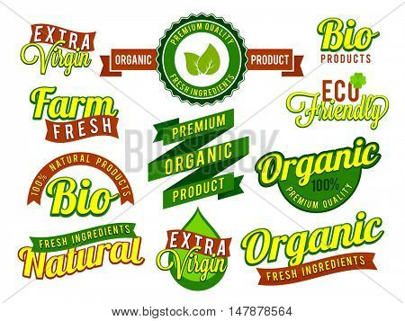 Set of creative stickers, labels, ribbons and typographic elements for Natural Organic, Bio or Eco Friendly products.