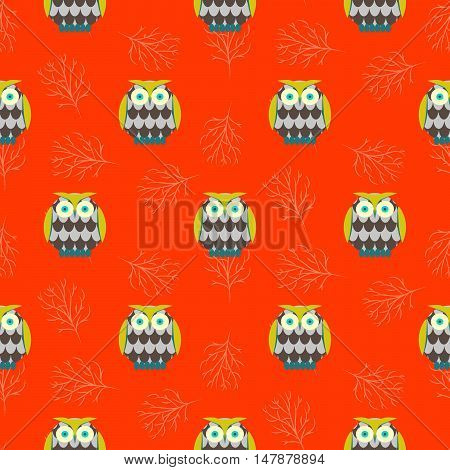 Cartoon owls orange red seamless vector pattern. Green and brown owl birds background.