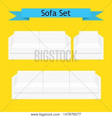 White soft furniture vector set. Sofa couch and chair set.