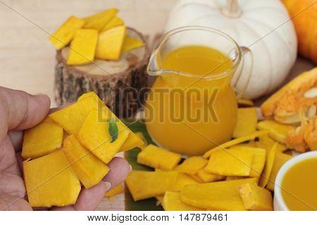 Pumpkin juice tasty and fresh pumpkin sliced