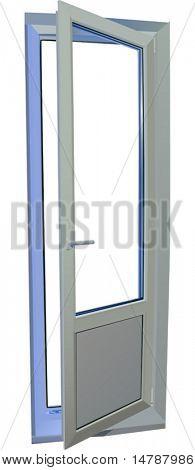 Ilustración con puerta blanca, aislada sobre fondo blanco