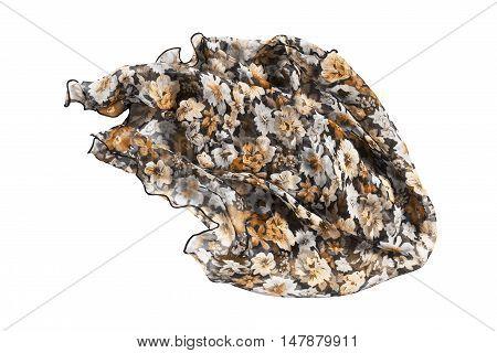 Brown chiffon kerchief crumpled on white background