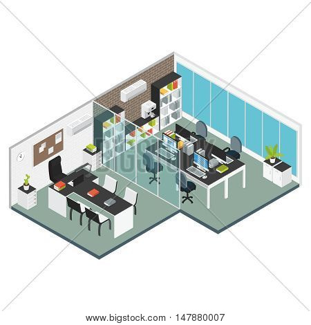 Colored isometric interior Office workplace two adjacent rooms office and meeting room vector illustration